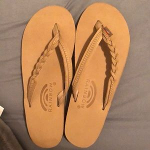 Light brown rainbow flip flops
